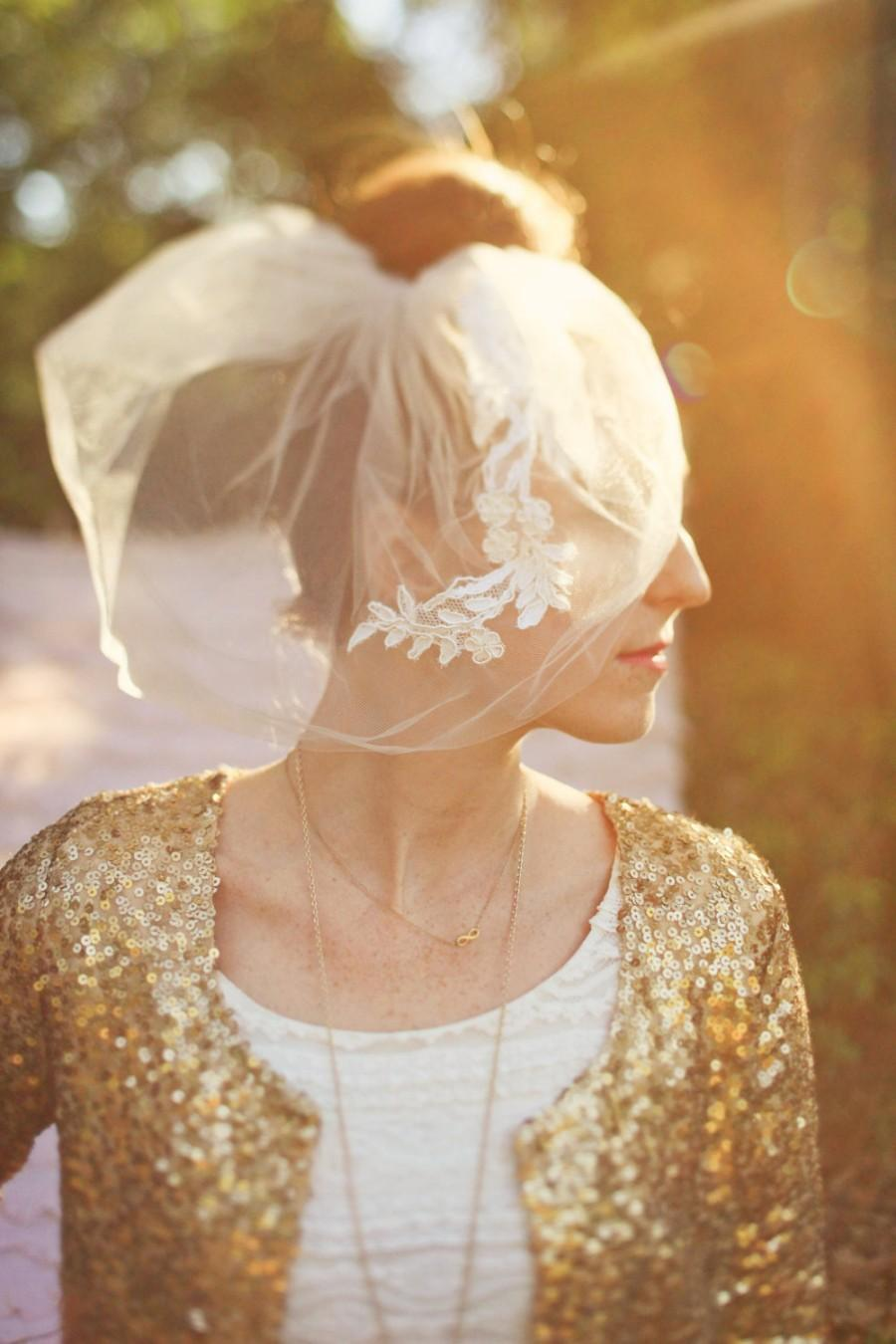 Свадьба - Double layer blusher veil adorned with Alencon lace