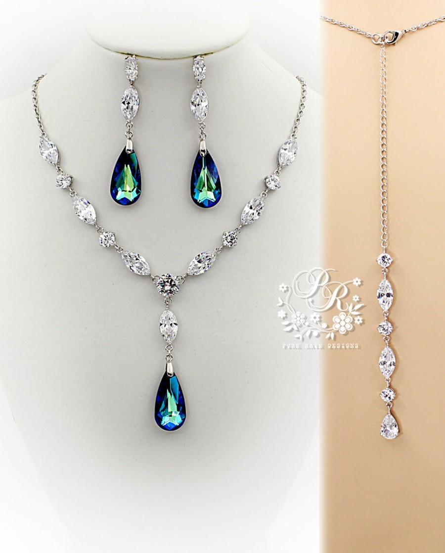 Wedding Necklace Earring Swarovski Bermuda Blue Crystal pendant Zirconia  Rhinestone Necklace Earrings Wedding Jewelry Bridal Jewelry Sasa 9f8c937bed