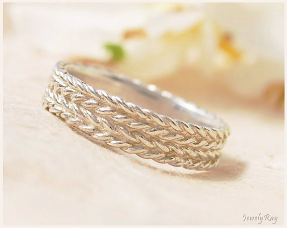 Свадьба - Braided Wedding Ring - Sterling Silver braided ring, Braided promise ring, Braided anniversary ring, Braided everyday ring, Meaningful ring