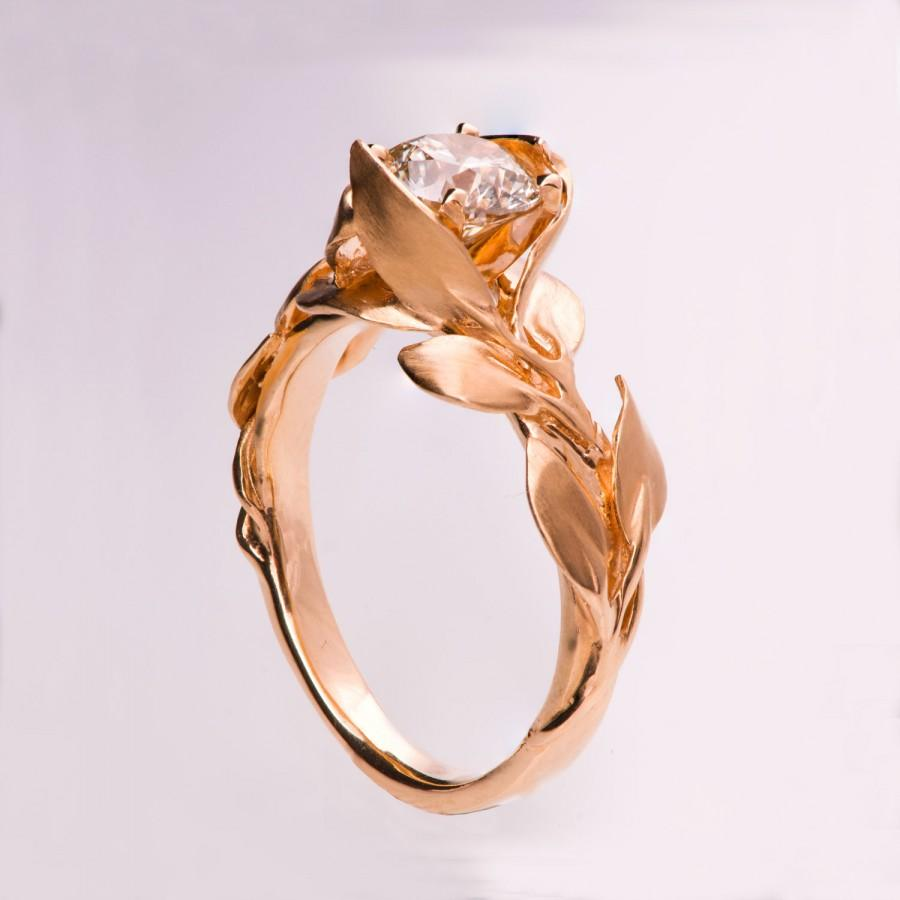 and diamond ring no leaves rings mermaid vintage antique leaf rose media engagement gold