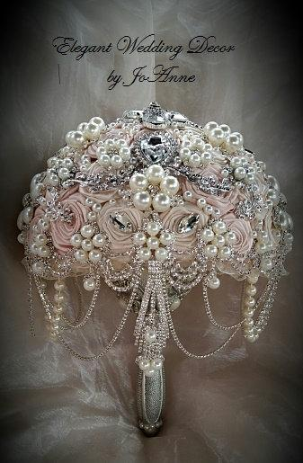 Hochzeit - Pink and Silver Brooch Bouquet, Blush Pink Bridal Brooch Bouquet, Pink Brooch Bouquet, Blush Jeweled Bouquet, Pink and Ivory, DEPOSIT ONLY