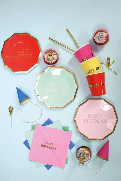 Mariage - Meri Meri Happy Birthday Large Paper Plates (8), Birthday Party, Boutique Tableware, Hexagon Plates, Metallic Gold Party Supply