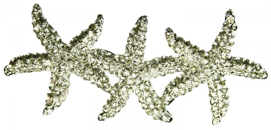 Hochzeit - STARFISH Hair Clip Rhinestone Beach Bridal Wedding Accessories