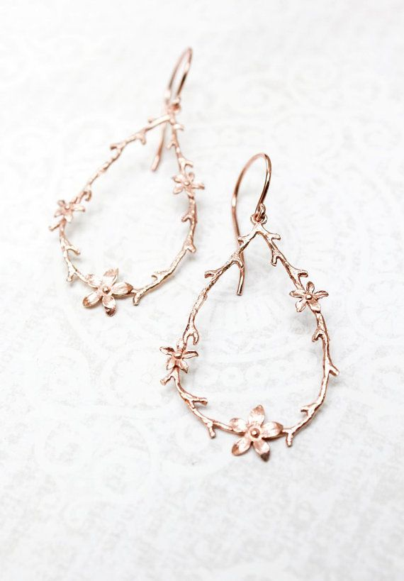 Hochzeit - Twig And Flower Earrings Pink Gold Branch And Blossom Rose Gold Floral Hoops Bridal Jewelry Bridesmaids Gift Large Botanical Dangle Earrings