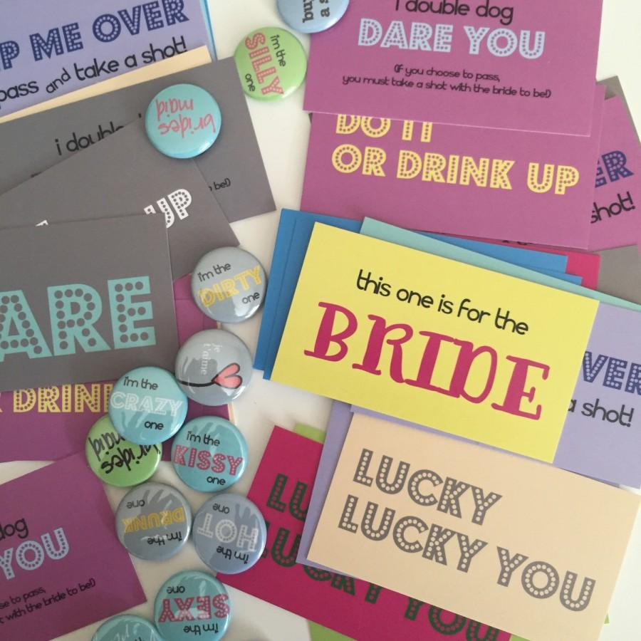 Hochzeit - 25 buttons and 48 Dare Cards v.1 - Bachelorette Party Pack