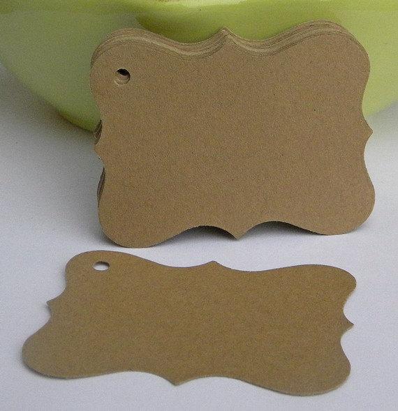 Hochzeit - 150 bracket tags in kraft card stock -gift tags - wedding favor tags - blank tags