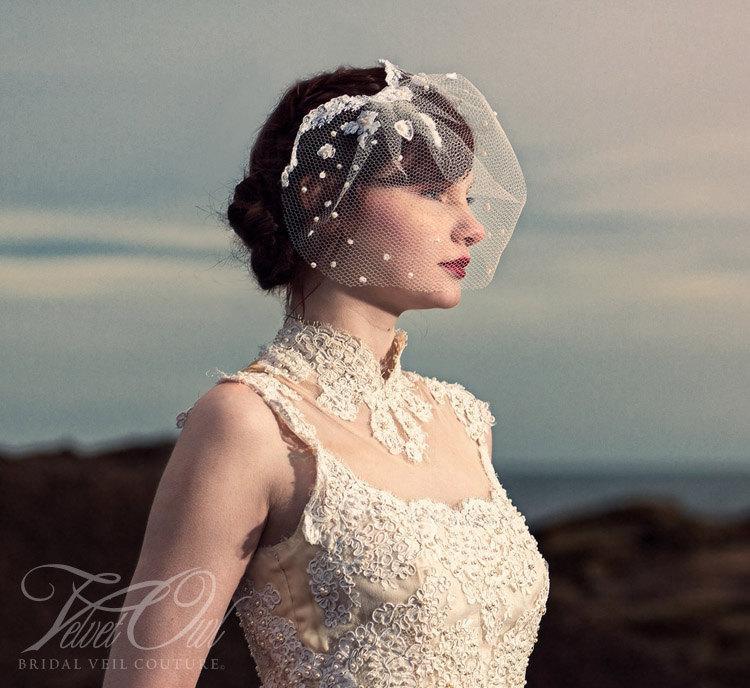 زفاف - Lace birdcage veil, birdcage veil, antique lace veil, bridal veil, wedding veil, vintage veil, ivory veil, off white veil,