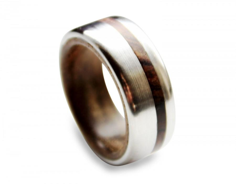 Wedding - Titanium men ring with tropical ironwood inner and cocobolo wood inlay
