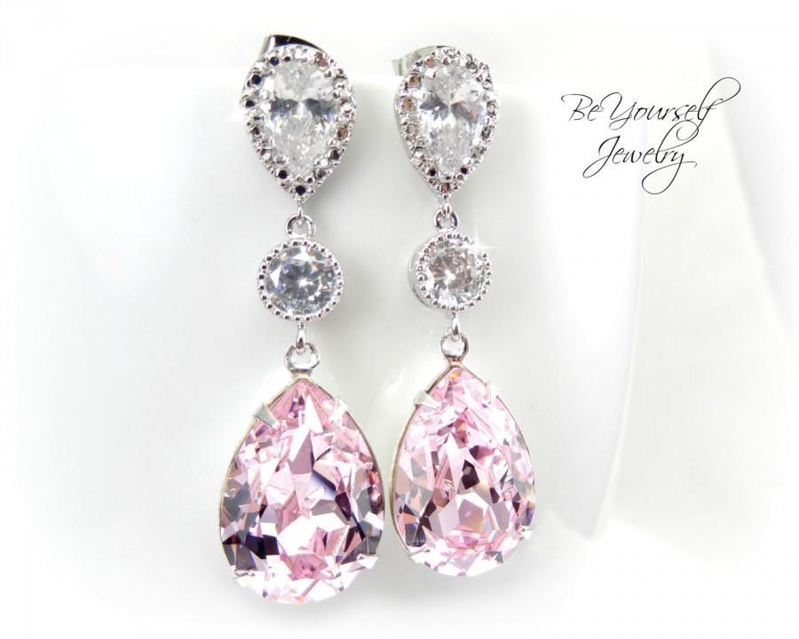 Свадьба - Soft Pink Bridal Earrings Blush Teardrop Bride Earrings Pastel Wedding Jewelry Swarovski Crystal Rosaline Wedding Earrings Bridesmaid Gift