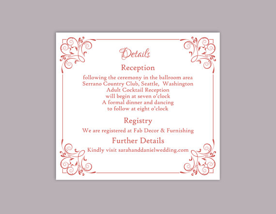 Mariage - DIY Wedding Details Card Template Editable Text Word File Download Printable Details Card Wine Red Details Card Red Information Cards