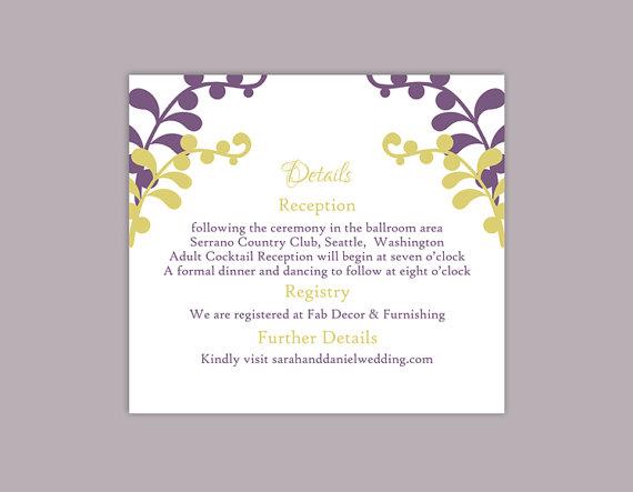 Wedding - DIY Wedding Details Card Template Editable Text Word File Download Printable Details Card Purple Details Card Green Information Cards