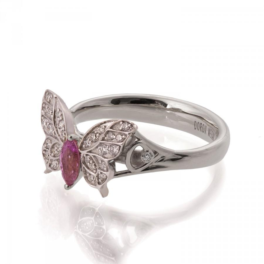 Свадьба - Butterfly Engagement Ring - 18K White Gold and Pink Sapphire engagement ring, Marquise, unique engagement ring, pink sapphire ring, art deco