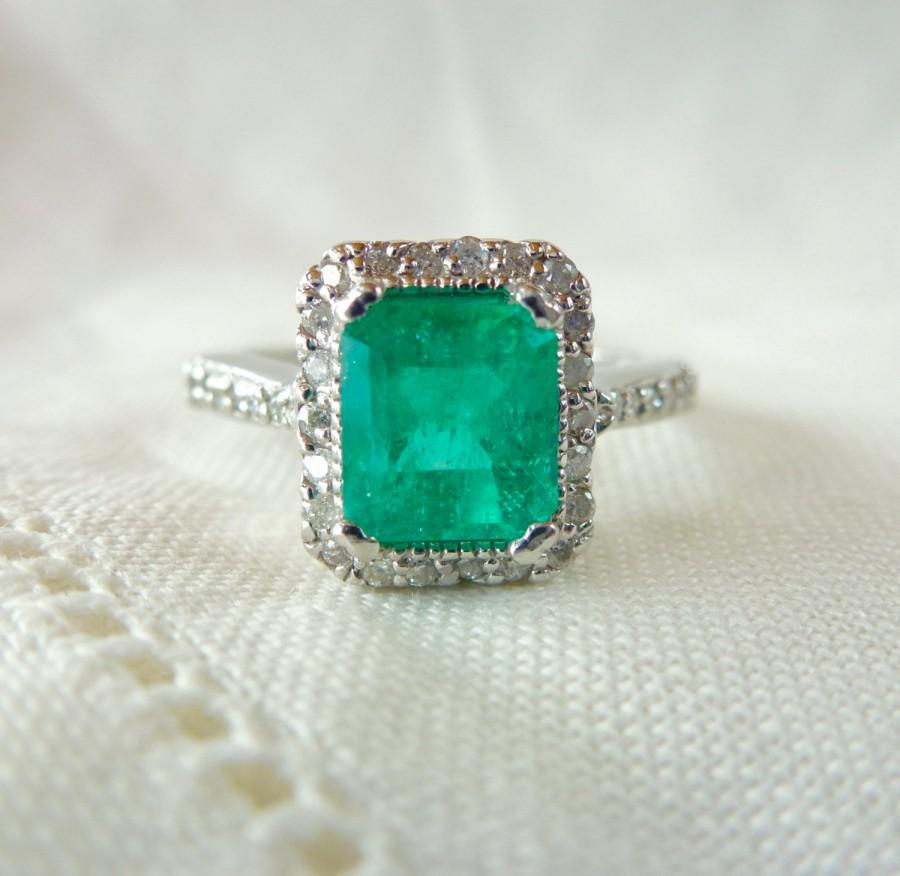 Свадьба - A Natural Emerald Cut Emerald and Diamond Engagement Ring in 14kt White Gold - Galianna