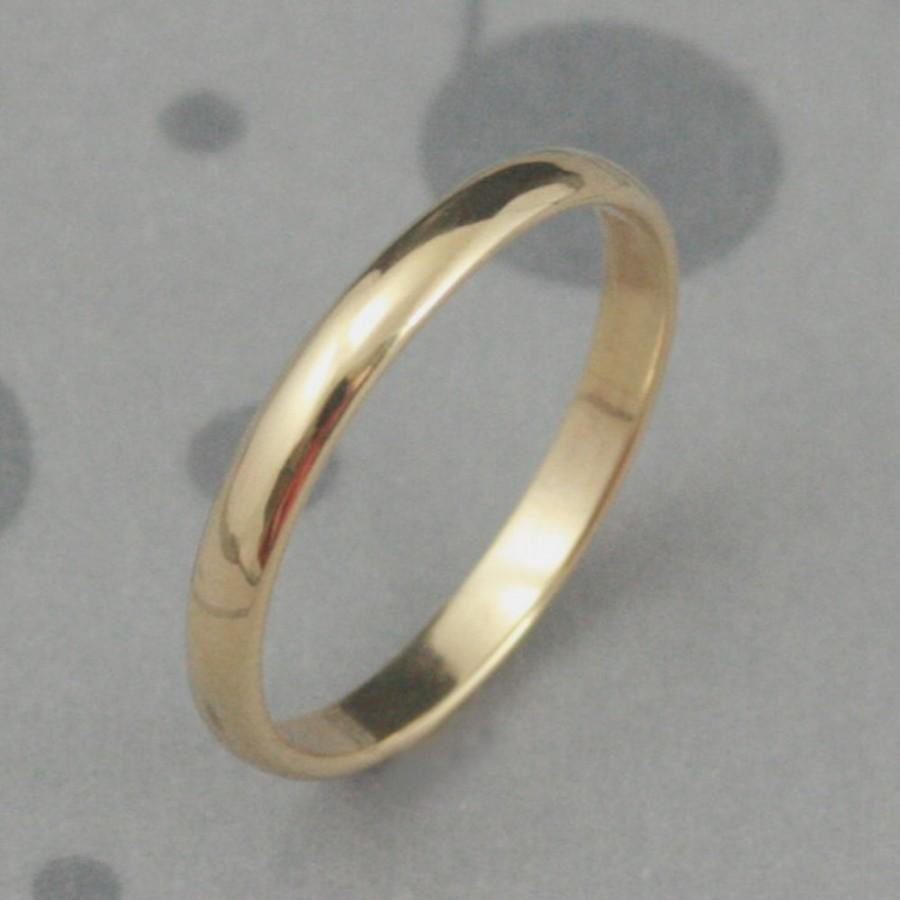Mariage - Solid 14K Gold 2.5mm wide Plain Jane Half Round Band--YOUR Choice of 14K Rose Gold, White Gold, or Yellow Gold--Custom made in Your size