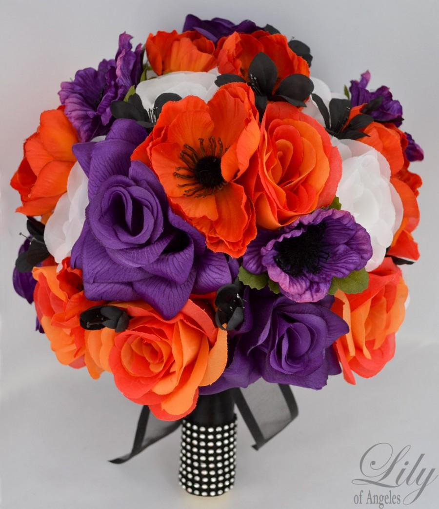"Hochzeit - 17 Pieces Wedding Bridal Bride Maid Of Honor Bridesmaid Bouquet Boutonniere Corsage Silk Flower Black PURPLE ORANGE ""Lily Of Angeles"" ORPU02"