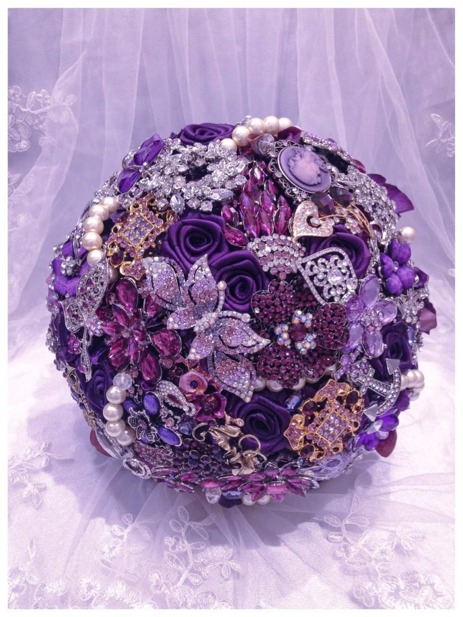 Hochzeit - Purple Rich Classic Bridal Brooch Bouquet. Deposit on Purple Silver Gold Champagne Pearl Crystal Wedding Broach Bouquet