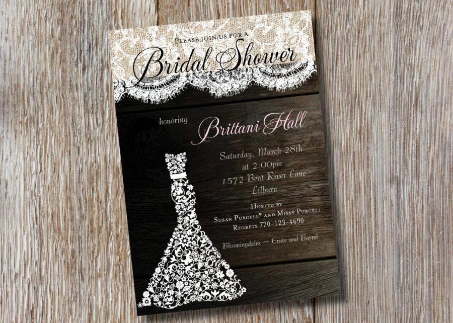 Mariage - Printable - Rustic Bridal Shower Invitation