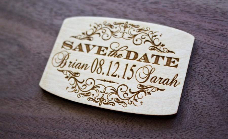 75 Save The Date Wooden Magnets Laser Engraved Wood Magnet Personalized Wedding Rustic