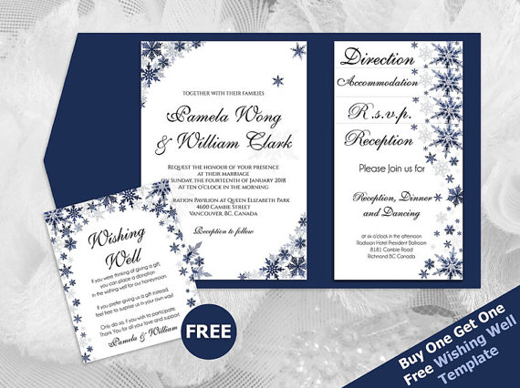 Свадьба - DIY Printable Wedding Pocket Fold Invitation Set A7 5 x 7