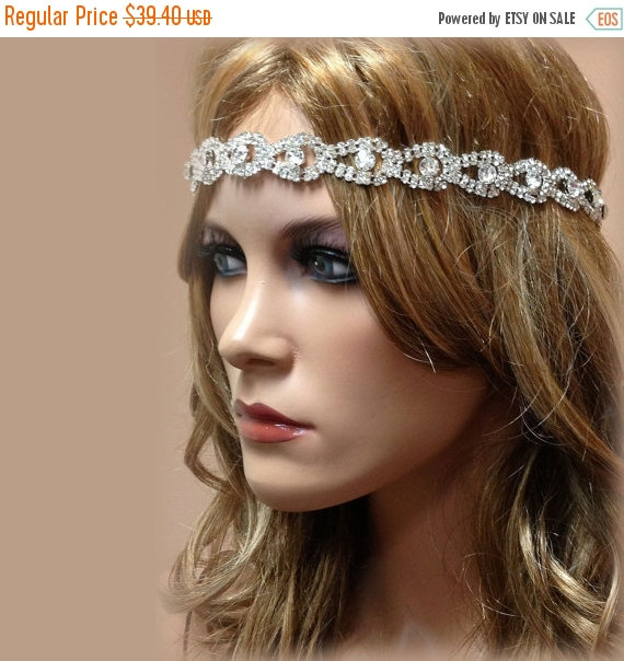 Wedding - Bridal hair accessory, bridal headband, rhinestone headband, Crystal headband, bridal Sash, wedding hair accessory