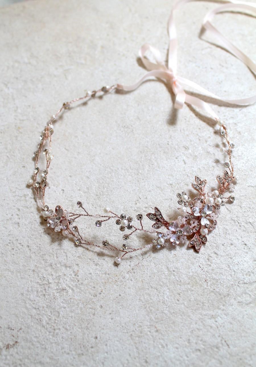 Hochzeit - Rose gold Leaf Vine Bridal Headpiece. Boho Delicate Crystal Pearl wedding Wreath. Halo Headband. Rhinestone Floral Hairpiece. TEREZ
