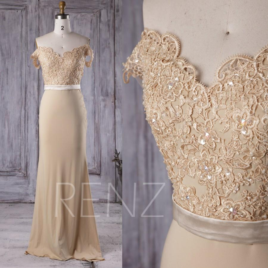 زفاف - 2016 Beige Chiffon Bridesmaid Dress Long, V Neck Lace Wedding Dress, Off Shoulder Prom Dress, Open Back Evening Gown Floor Length (G167B)