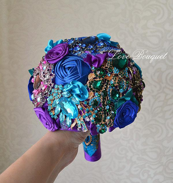 Mariage - Wedding Bouquet, Purple and Blue Brooch Bouquet, Peacock Wedding Brooch Bouquet, Bling Design Bridal Bouquet, Jewelry Bouquet, Bouquet