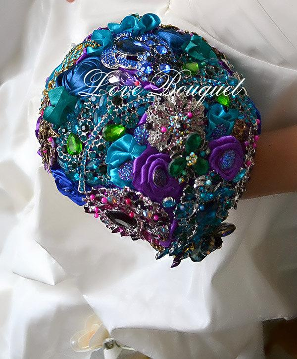 Wedding - Brooch Bouquet, Unique Wedding Bouquet, Purple, Turquoise and Gold Wedding Bouquet, Bridal Bouquet, Jewelry Bouquet, Cascading Bouquet