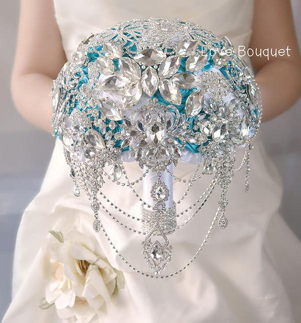Mariage - Wedding Brooch Bouquet, White Turquoise Crystal  Great Gatsby Wedding  Brooch Bouquet, Bridal Rhinestones Jewelry Cascading Brooch Bouquet