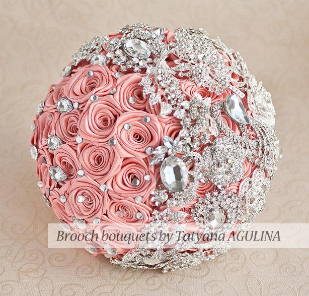 Hochzeit - Brooch bouquet. Coral and silver wedding brooch bouquet, Jeweled Bouquet. Made upon request Quinceanera keepsake bouquet