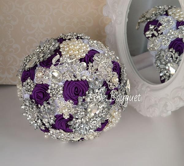 Wedding - Wedding Bouquet, With Eggplant Purple and White Roses Brooch Bouquet, Jewelry Crystal Pearl Rhinestone Brooch Bouquet, Bridal Broach Bouquet