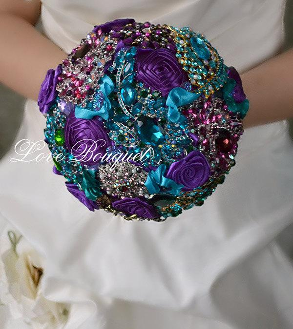 Wedding - Wedding Bouquet, Purple Brooch Bouquet, Peacock Wedding Brooch Bouquet, Bridal Bouquet, Jewelry Bouquet, Wedding Decor, Turquoise Bouquet