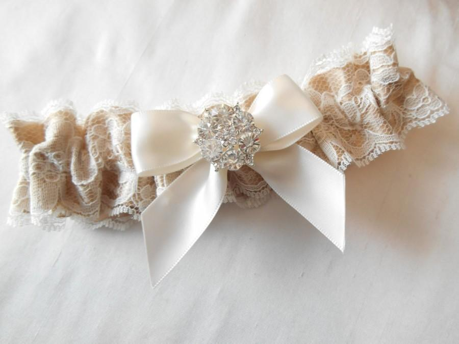 Hochzeit - Wedding Garter Prom Garter Single IVORY WHITE ANTIQUE Ivory Lace on Satin Custom Color a Beautiful Pearl and Rhinestone Cluster Custom Color