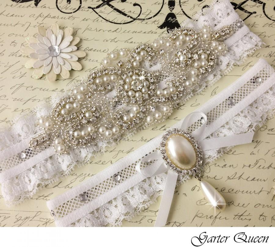 Hochzeit - Pearl Bridal garter set, Wedding Garter set, Rhinestone and Pearl Garter, Personalized Garters