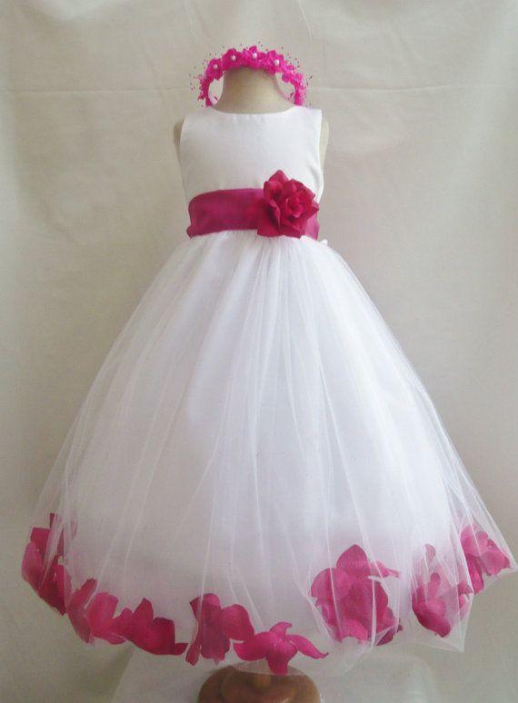 9c70fb7e610 Flower Girl Dresses - WHITE With Fuchsia Rose Petal Dress (FD0PT) - Wedding  Easter Bridesmaid - For Baby Children Toddler Teen Girls