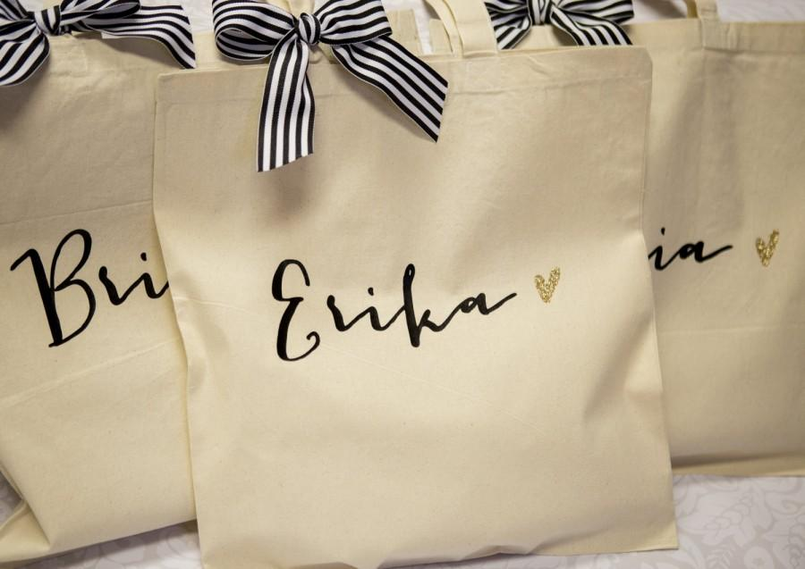 Personalised Wedding Gift Canvas : Bag Gift for Bridesmaids, Canvas Bag w/Striped Ribbon Gift for Wedding ...