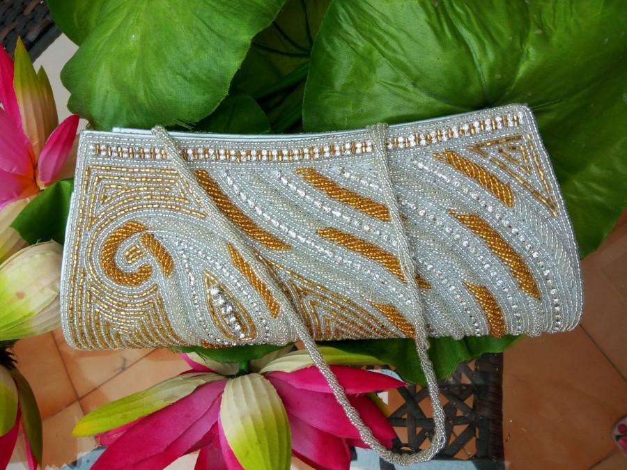 Hochzeit - Bridal Clutch Ivory White glass beads rhinestones Crystal Work - Formal Evening sequin Purse - bridesmaids clutch purse - Ready to ship