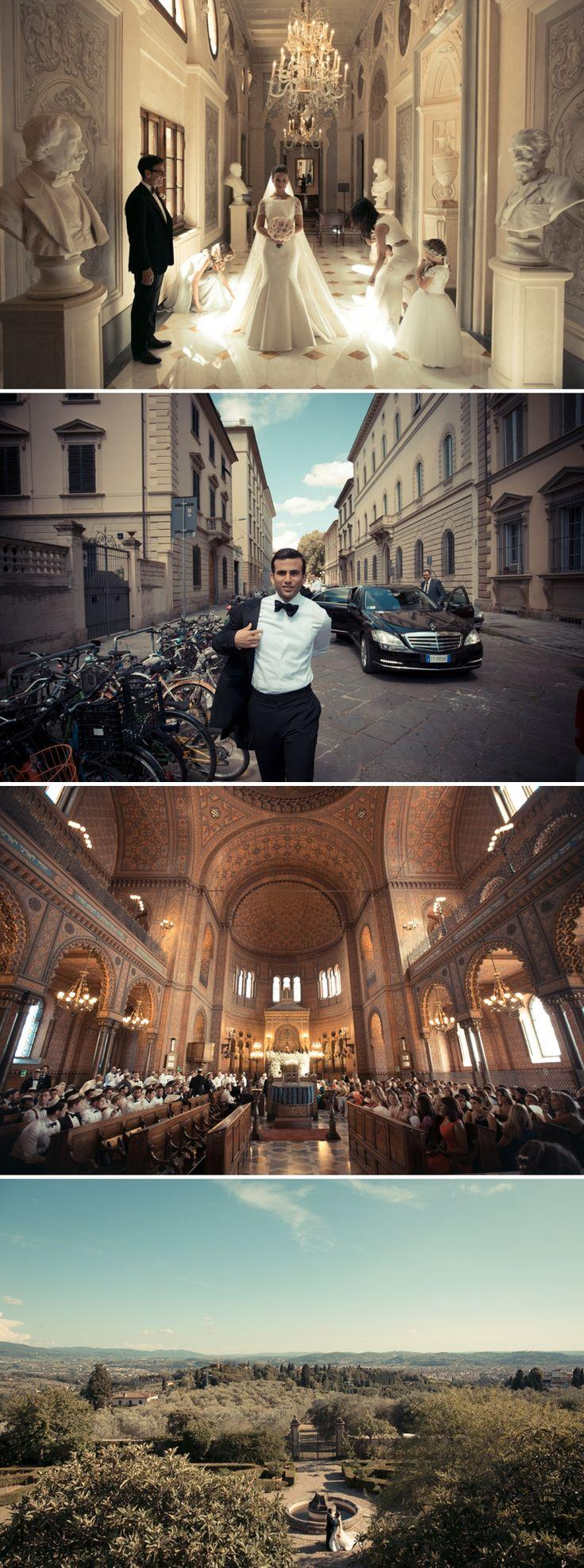 Свадьба - 'Old Hollywood' Destination Jewish Wedding At The Great Synagogue Of Florence And Villa Di Maiano, Florence, Italy - Smashing The Glass