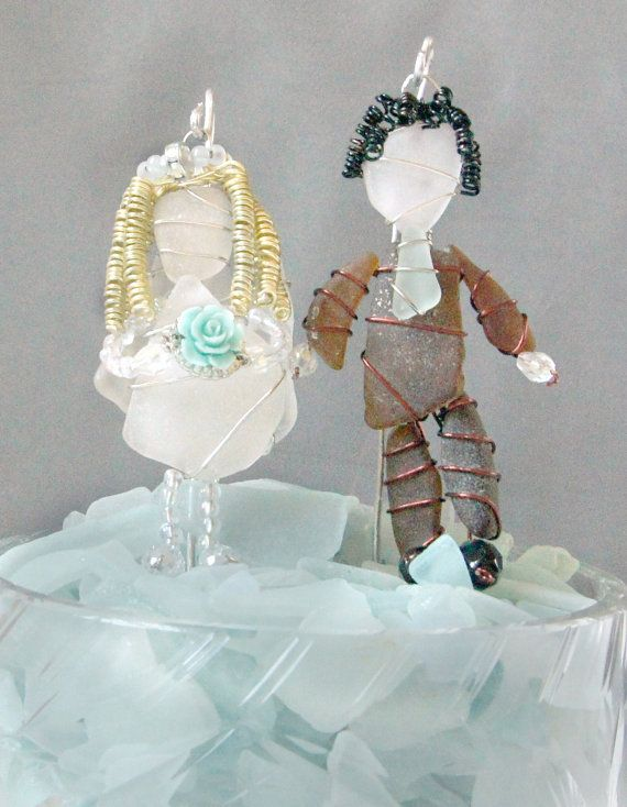 Hochzeit - Sea Glass Bride And Groom Suncatcher Ornaments Or Sea Glass Bride And Groom Cake Toppers