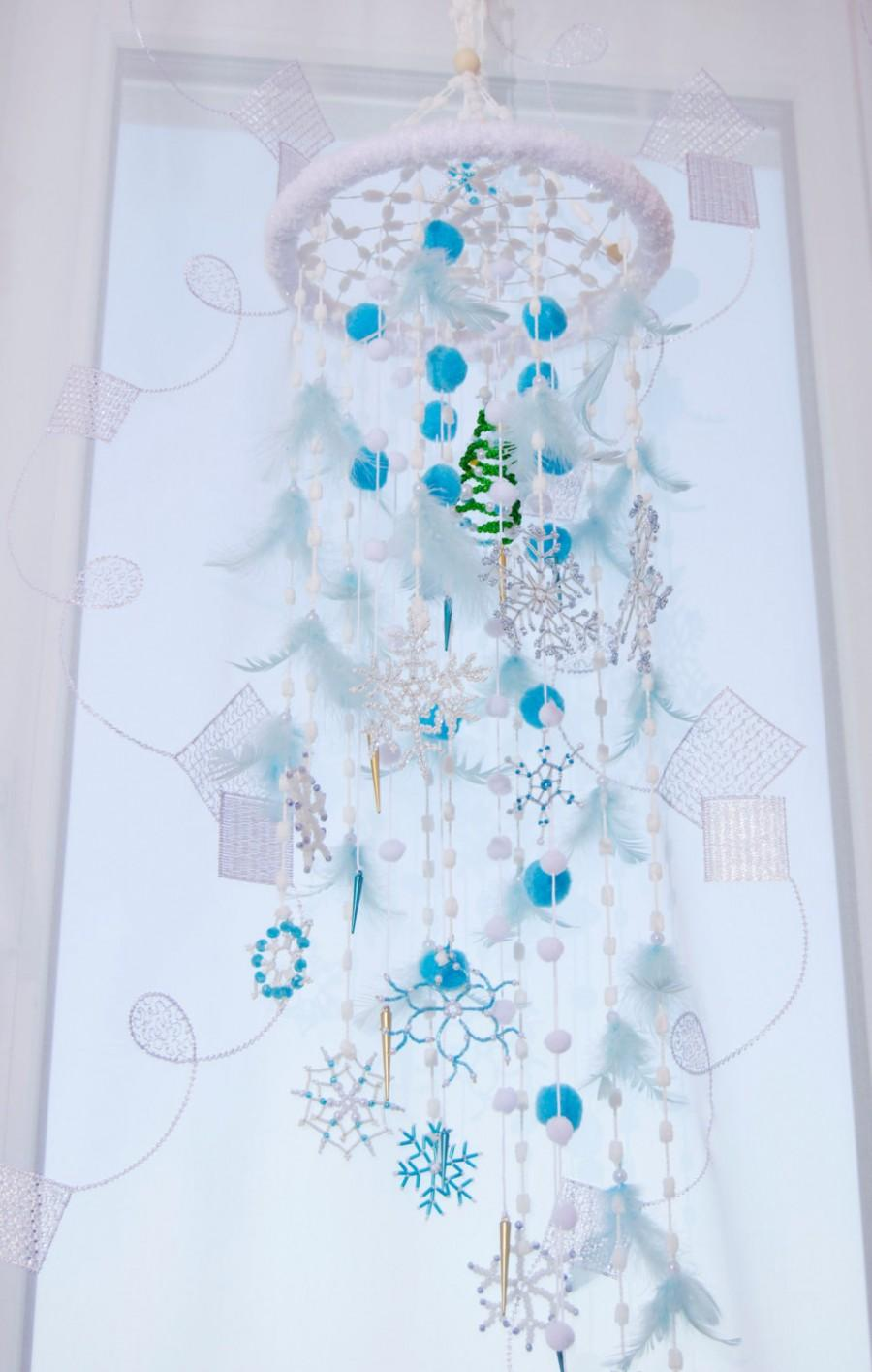 Fairy Christmas Mobile Nursery Bаbу Decor Beaded Snowflake Bedroom Mobiles Winter Dream Catcher Babies Snow Crib White Blue Baby Boy