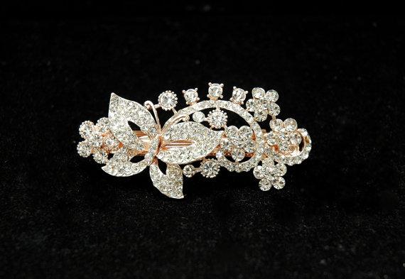 Свадьба - Butterfly Bridal Barrette, Wedding Headpiece, Crystal Barrette, Wedding Accessories, Flower Head Piece, Hair Jewelry