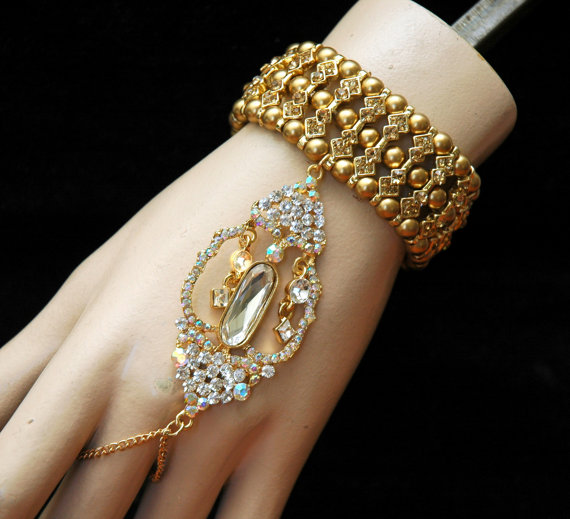 Gold Gatsby Bracelet Wedding Jewelry Bracelet With Ring Crystal