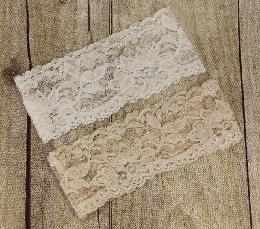 """Hochzeit - 1 Lace Garter, 30+ Lace Colors Available, Pre-made 2 1/4"""" Wedding Garter, Bridal Garter, Garter, NUDE Garter, Plain Garter."""