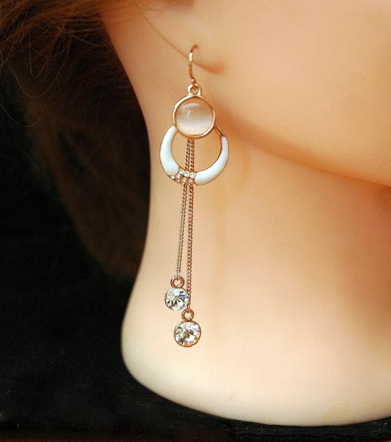 Свадьба - Blush Rose Gold Earrings Chandelier Earrings, Cats Eye Crystal Earrings, Rose Gold Jewelry, Long Dangle Earrings