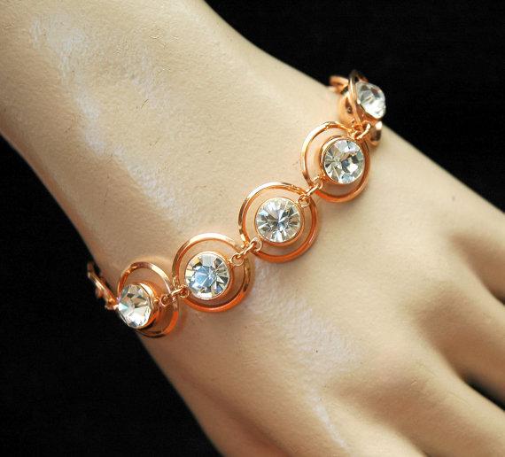 Rose Gold Crystal Bracelet Bridal Wedding Rhinestone Jewelry