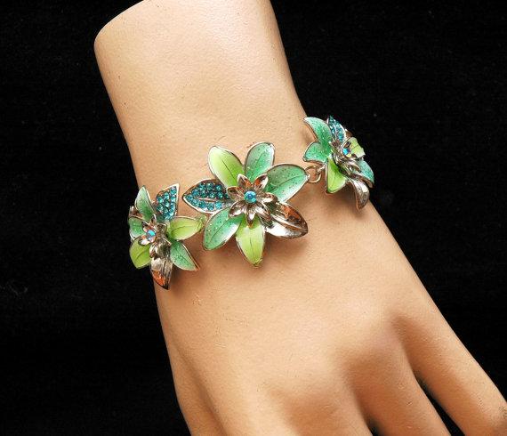 Wedding - Turquoise Flower Bracelet, Crystal Bracelet, Silver Bracelet, Daisy Flower, Crystal Necklace, Turquoise Bracelet, Turquoise Necklace