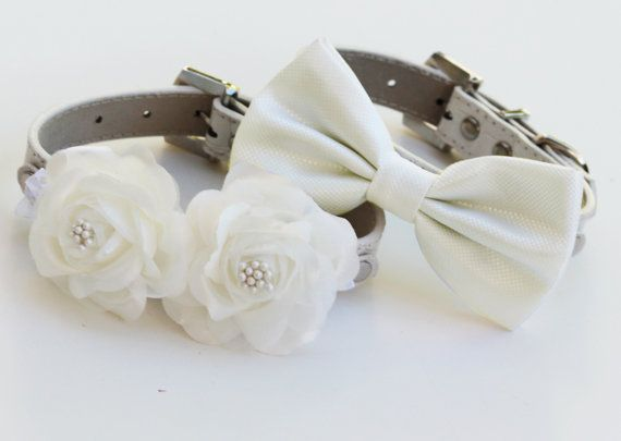 Mariage - White Wedding Dog Collars -Two Chic Wedding Dog Collars, White Dog Bow Tie And Floral Dog Collar