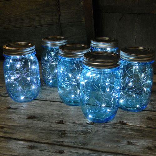 Mason Jar Fairy Lights Blue Pint Wide Mouth 16 Oz Cool White 12 Pack 2573415 Weddbook