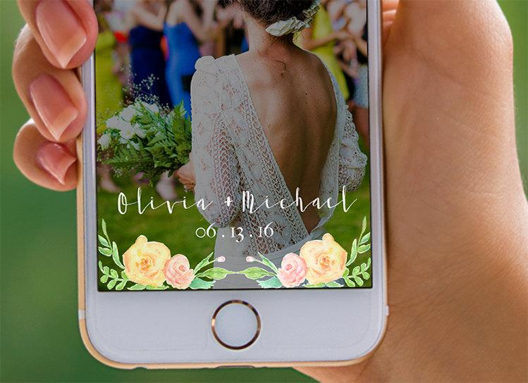 Mariage - On Demand Painted Wedding Geofilter Clean Wedding Snapchat Filter Rustic Watercolor Wedding Snapchat Filter Floral Wedding Snapchat -Olivia