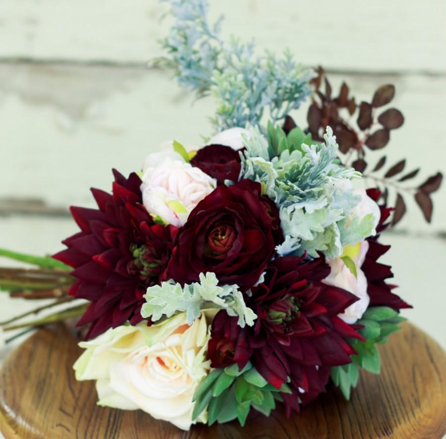 Свадьба - Plum Burgundy Succulent Wedding Bouquet with Dahlias Ranunculus and Peony